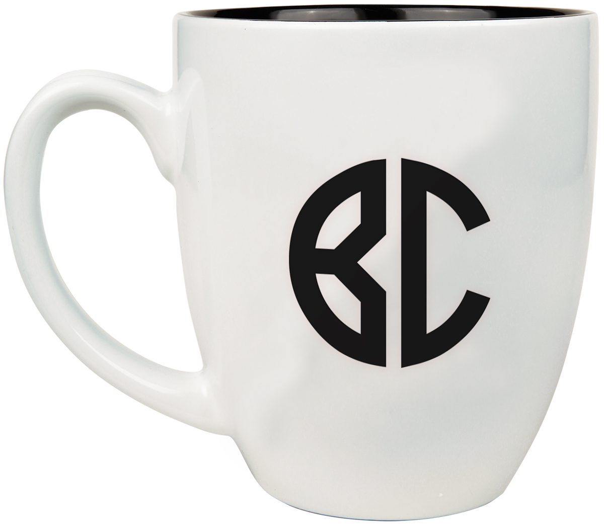 Two Initial Monogram Ceramic Coffee Cup