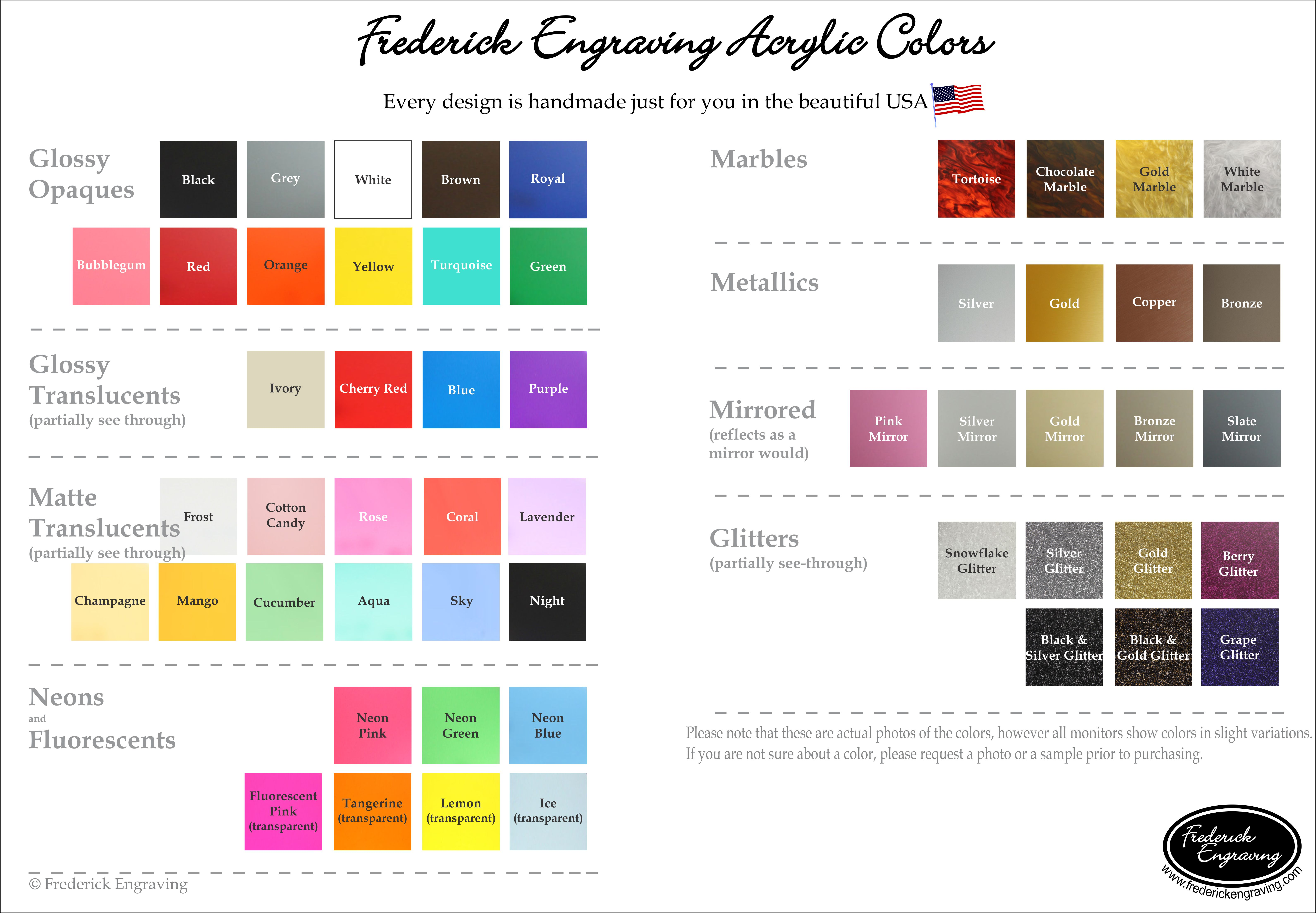 Frederick Engraving Acrylic Colors