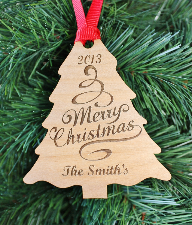our christmas tree engraved wood ornament
