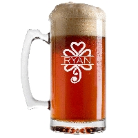 Personalized Celtic Shamrock Beer Glass with Handle