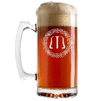 Personalized Celtic Circle Monogram Beer Glass with Handle