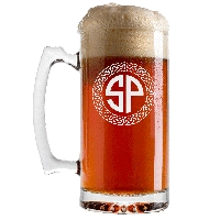 Personalized Celtic Circle Two Letter Monogram Beer Glass with Handle