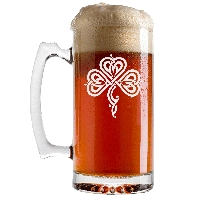 Stylized Celtic Shamrock Beer Glass with Handle