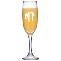 Two Initial Block Monogram Champagne Flute