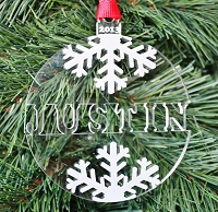 Snowflake Name Ornament - Engraved Christmas Ornament