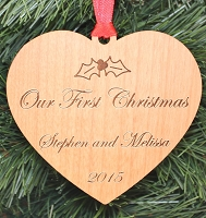 Our First Christmas - Engraved Wood Ornament