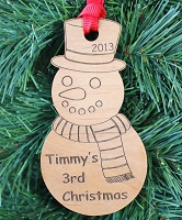 The Snowman Engraved Wood Ornament