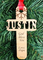 My Name Cross - Custom Wood Ornament