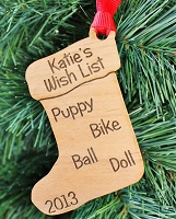 Their Wish List - Custom Wood Ornament