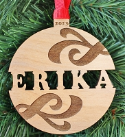 Swirl Name Ornament - Custom Christmas Ornament
