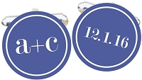 You Plus Me Initial Cuff Links with Date