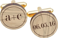 You Plus Me Wood Cuff Links