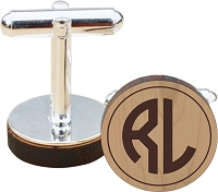 Two Initial Monogram Wood Cuff Links