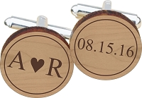 You Heart Me Wood Cuff Links with Date