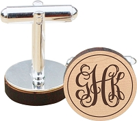 Script Monogram Wood Cuff Links