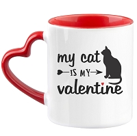 Cat is my Valentine Heart Mug