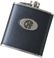 Block Monogram 6oz Leatherette Flask