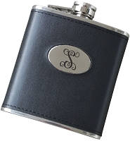 Initial 6 oz Leatherette Flask