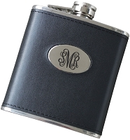 Script Monogram 6 oz Leatherette Flask
