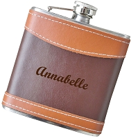 Engraved 6 oz Two Tone Leather Flask