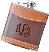Script Monogram - 6 oz Two Tone Leather Flask