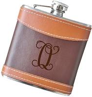 Script Initial - 6 oz Two Tone Leather Flask