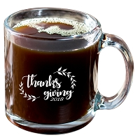 Thanksgiving Glass Hot Beverage Mug