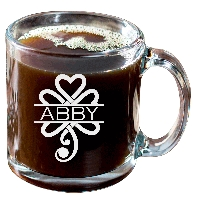 Personalized Celtic Shamrock Glass Coffee Mug