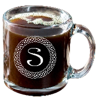 Personalized Celtic Circle Monogram Glass Coffee Mug