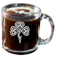 Stylized Celtic Shamrock Glass Coffee Mug