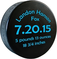 Birth Announcement Hockey Puck