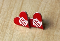 Monogram Earrings - Two Tone Circle Block Heart
