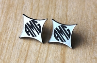 Monogram Earrings - Two Tone Circle Block Starburst