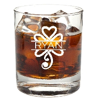 Personalized Celtic Shamrock Rocks Glass