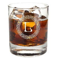 Personalized Celtic Circle Monogram Rocks Glass