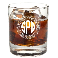 Personalized Celtic Circle Three Letter Monogram Rocks Glass