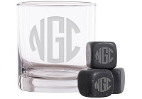 Personalized Block Monogram Whiskey Glass and Stones