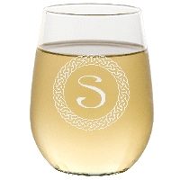 Personalized Celtic Circle Monogram Stemless Wine Glass