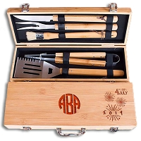 Custom Engraved Fourth of July BBQ Grill Set with Monogram