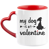 Dog is my Valentine Heart Mug