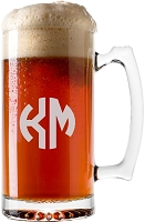 Two Initial Block Monogram Beer Mug
