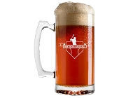 Personalized Beer Mug with Baseball Badge and Text