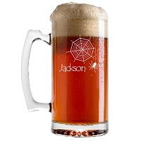 Engraved Halloween Custom Web Beer Mug