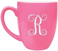 Engraved Script Initial Coffee Mug