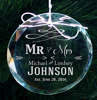 Personalized Mr and Mrs Engraved Crystal Ornament