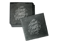 Engraved Home Sweet Home Slate Coaster Set