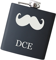 6 oz Initial 'Stache Flask - Choose Your Color