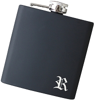 6 oz Gothic Initial Flask - Choose Your Color