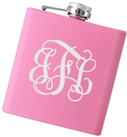 6 oz Monogram Script Flask - Choose Your Color