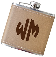 6 oz Two Initial Monogram Flask - Choose Your Color